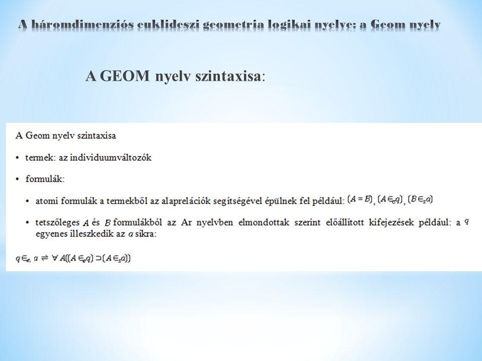 A GEOM nyelv szintaxisa: e