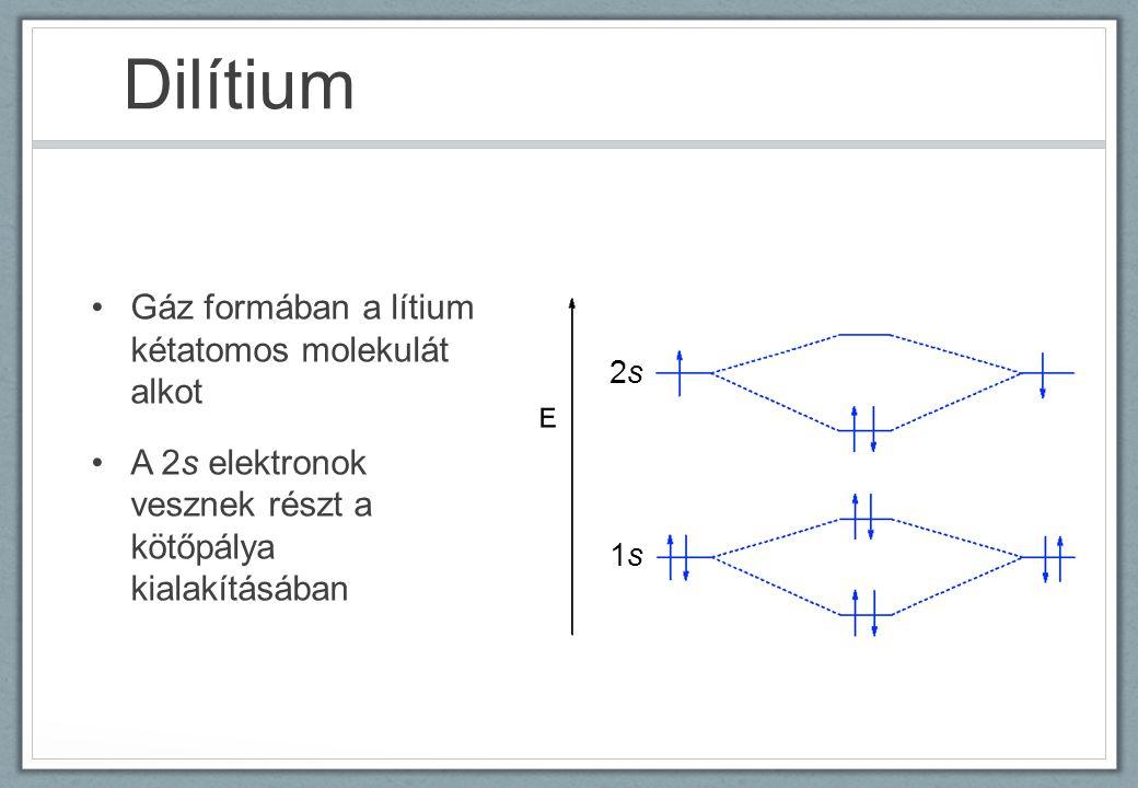 Dilítium Gáz formában a lítium kétatomos molekulát alkot A 2s elektronok vesznek részt a kötőpálya kialakításában 1s1s 2s2s