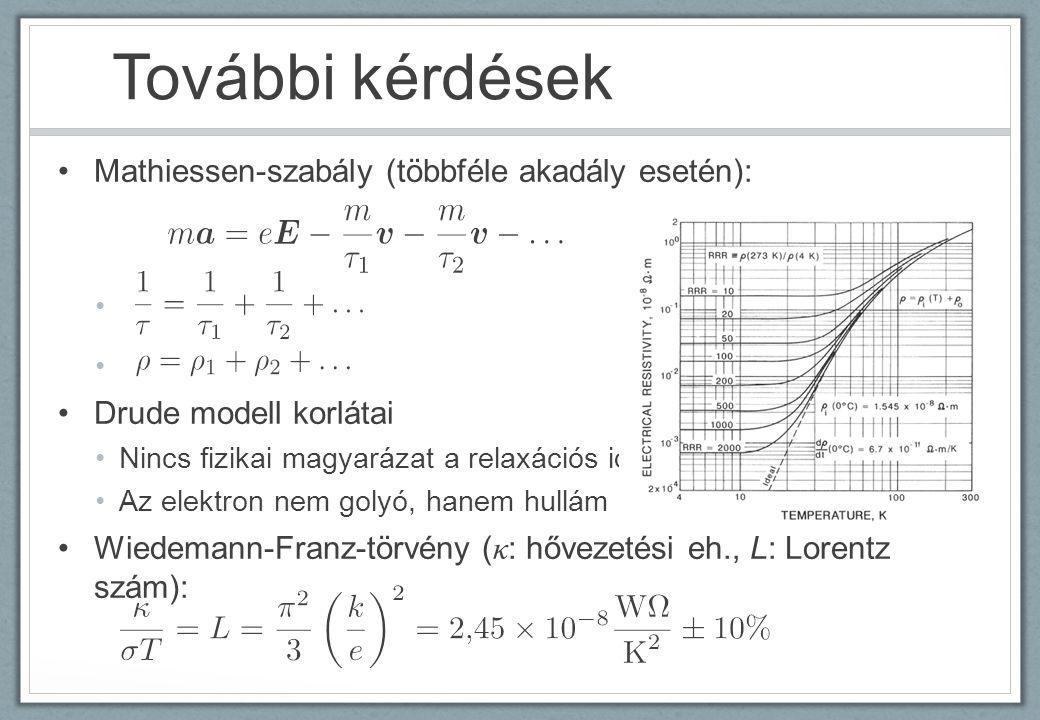 További kérdések Mathiessen-szabály (többféle akadály esetén): Drude modell korlátai Nincs fizikai magyarázat a relaxációs időre Az elektron nem golyó