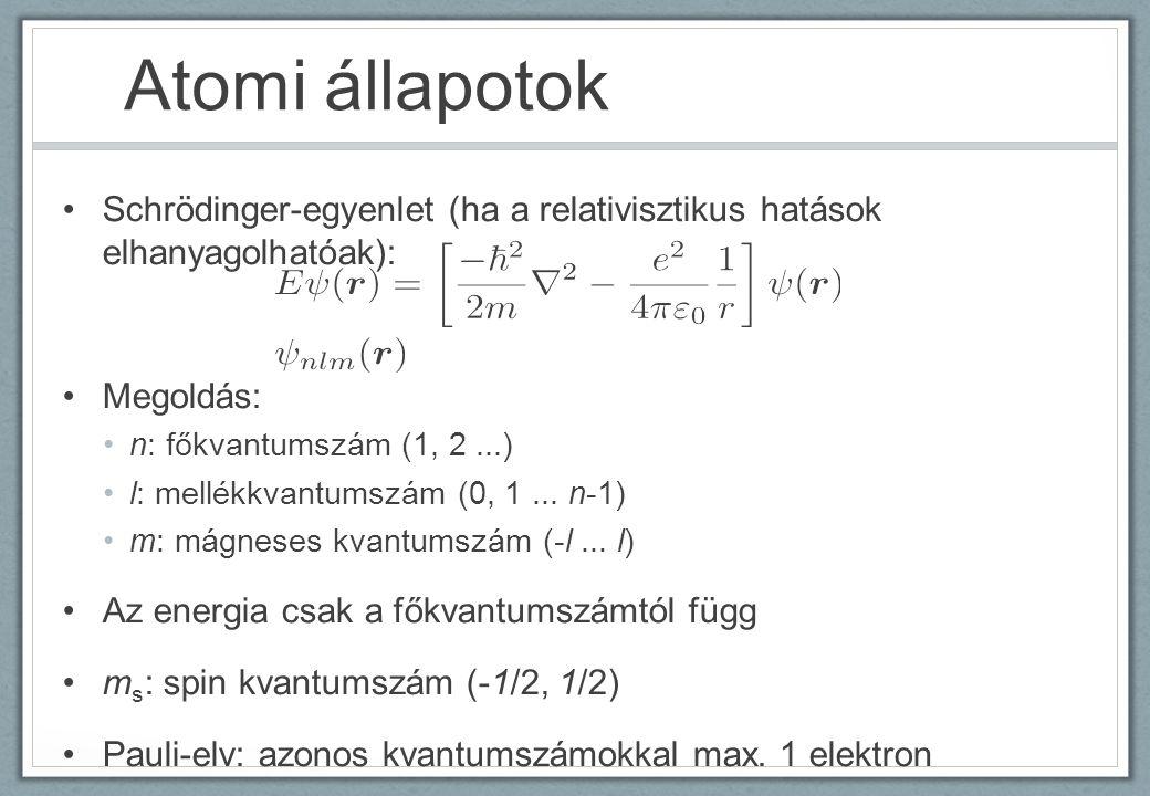 Atomi állapotok Schrödinger-egyenlet (ha a relativisztikus hatások elhanyagolhatóak): Megoldás: n: főkvantumszám (1, 2...) l: mellékkvantumszám (0, 1.