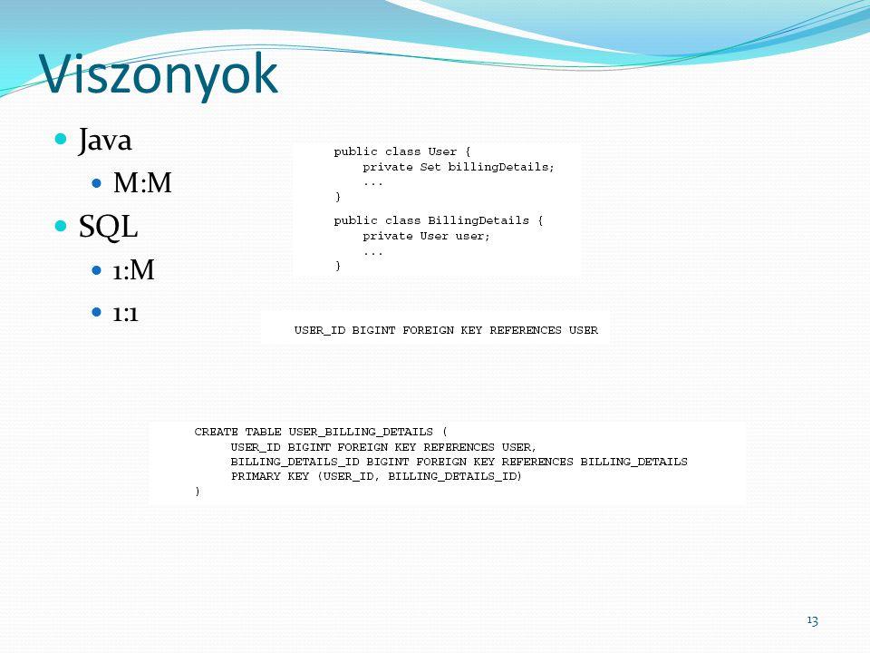 Viszonyok Java M:M SQL 1:M 1:1 13