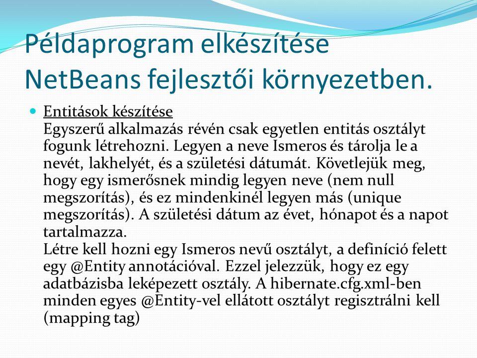 Példaprogram elkészítése NetBeans fejlesztői környezetben. Entitások készítése Egyszerű alkalmazás révén csak egyetlen entitás osztályt fogunk létreho
