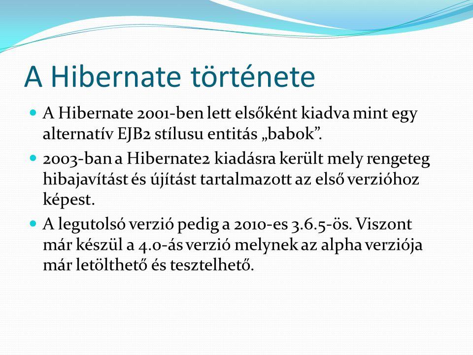 """A Hibernate története A Hibernate 2001-ben lett elsőként kiadva mint egy alternatív EJB2 stílusu entitás """"babok"""". 2003-ban a Hibernate2 kiadásra kerül"""