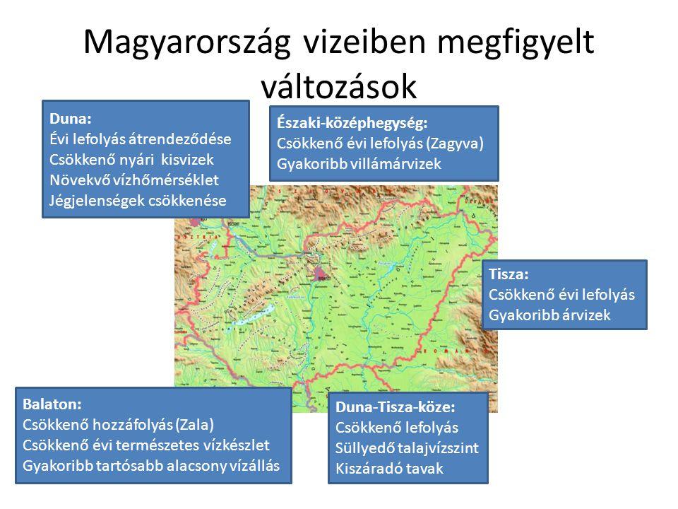 Magyarország vizeiben megfigyelt változások Duna: Évi lefolyás átrendeződése Csökkenő nyári kisvizek Növekvő vízhőmérséklet Jégjelenségek csökkenése É