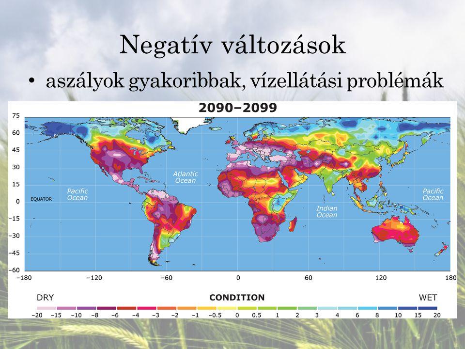 Negatív változások aszályok gyakoribbak, vízellátási problémák