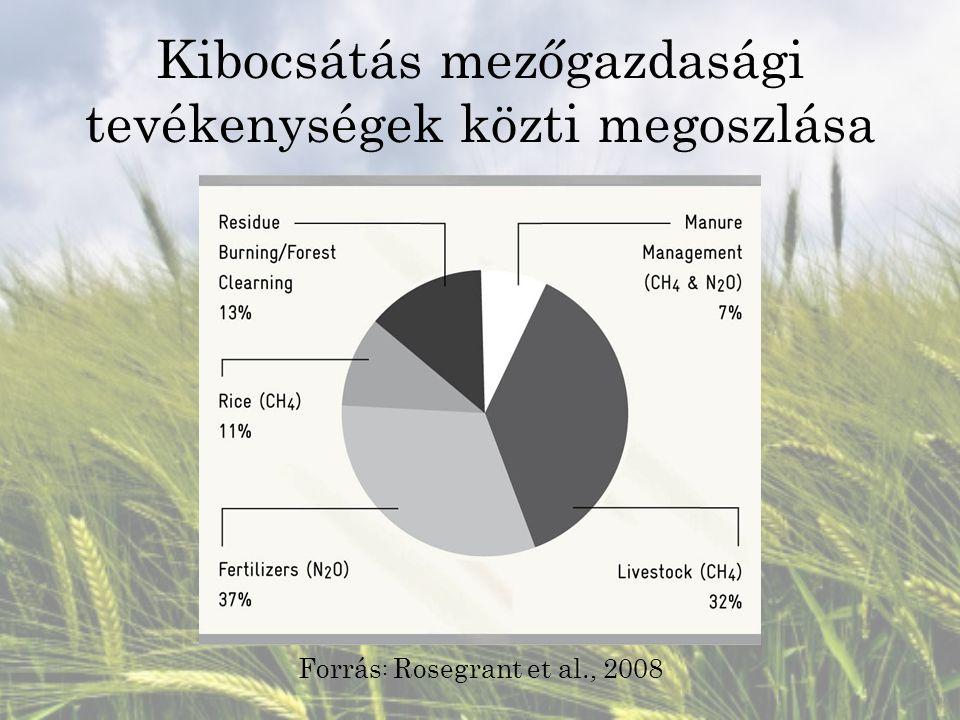 Kibocsátás mezőgazdasági tevékenységek közti megoszlása Forrás : Rosegrant et al., 2008