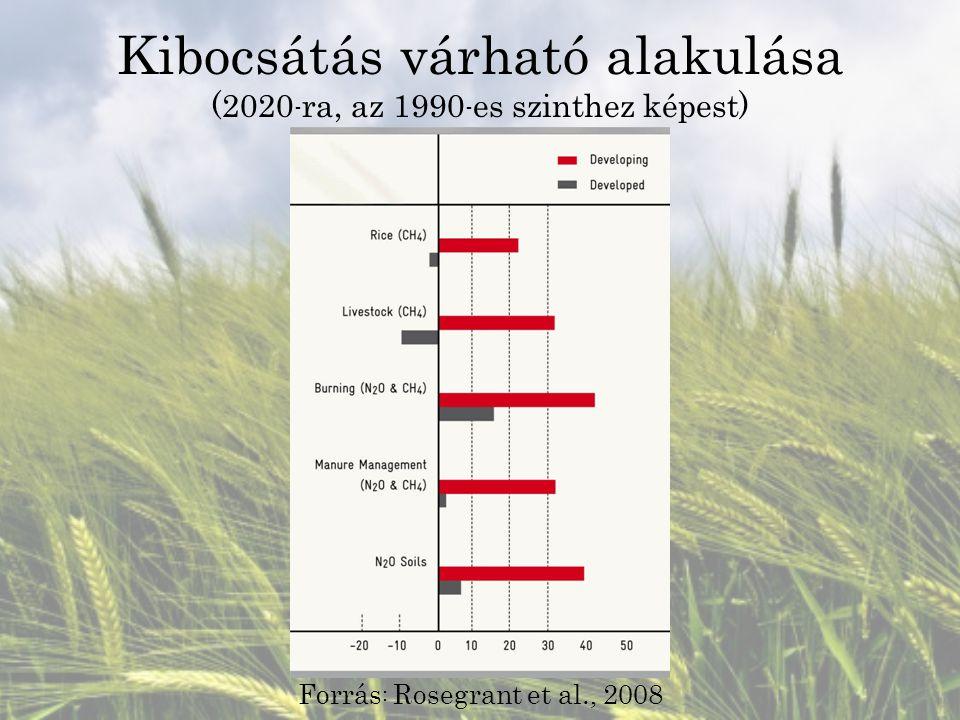 Kibocsátás várható alakulása (2020 - ra, az 1990 - es szinthez képest) Forrás : Rosegrant et al., 2008