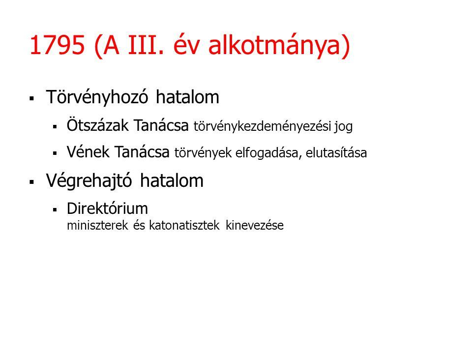 1795 (A III. év alkotmánya)  Törvényhozó hatalom  Ötszázak Tanácsa törvénykezdeményezési jog  Vének Tanácsa törvények elfogadása, elutasítása  Vég