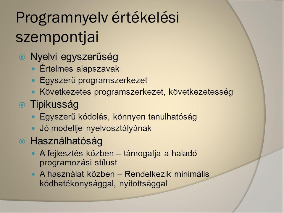 """Programnyelv értékelési szempontjai  Fejlesztői környezet léte Integrált nyelvi környezet Párbeszédesség a programfuttatásban  Szabványosság Dokumentáltság Elterjedtség  Fejlesztői környezet finomabb részletei Beépített programszerkesztő milyensége (""""alázatosság / """"erőszakosság ) Beépített futtató-/nyomkövető-rendszer Fordítási lehetőségek  Biztonságosság  Bonyolultság - egészében"""