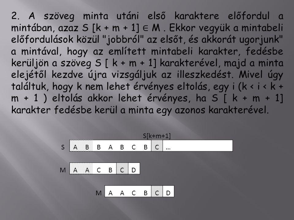 2.A szöveg minta utáni első karaktere előfordul a mintában, azaz S [k + m + 1] ∈ M.