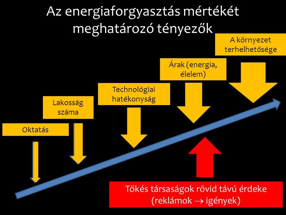 Az energiaforgyasztás mértékét meghatározó tényezők Lakosság száma Árak (energia, élelem) Technológiai hatékonyság Oktatás Tőkés társaságok rövid távú