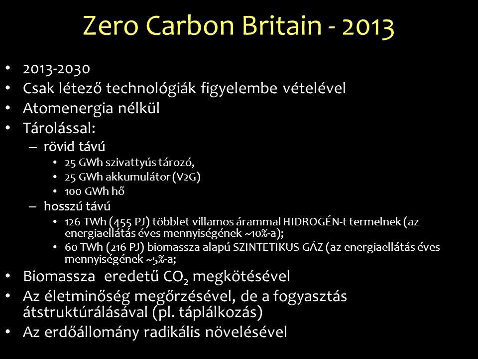 Zero Carbon Britain - 2013 2013-2030 Csak létező technológiák figyelembe vételével Atomenergia nélkül Tárolással: – rövid távú 25 GWh szivattyús tároz