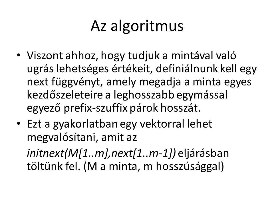 Az algoritmus Viszont ahhoz, hogy tudjuk a mintával való ugrás lehetséges értékeit, definiálnunk kell egy next függvényt, amely megadja a minta egyes