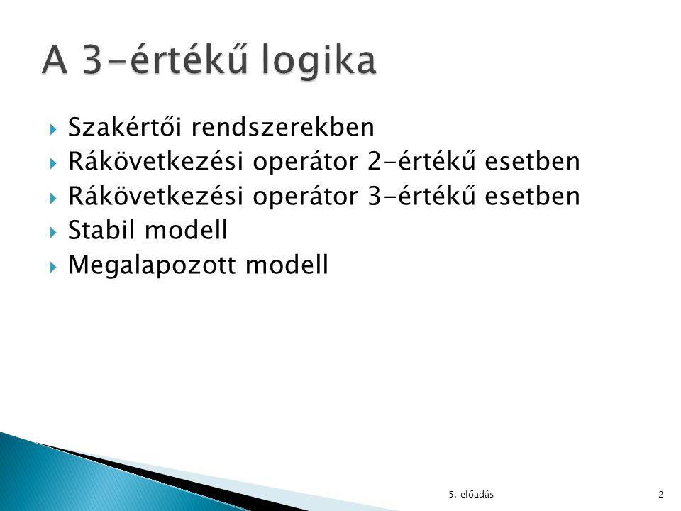  Szakértői rendszerekben  Rákövetkezési operátor 2-értékű esetben  Rákövetkezési operátor 3-értékű esetben  Stabil modell  Megalapozott modell 5.