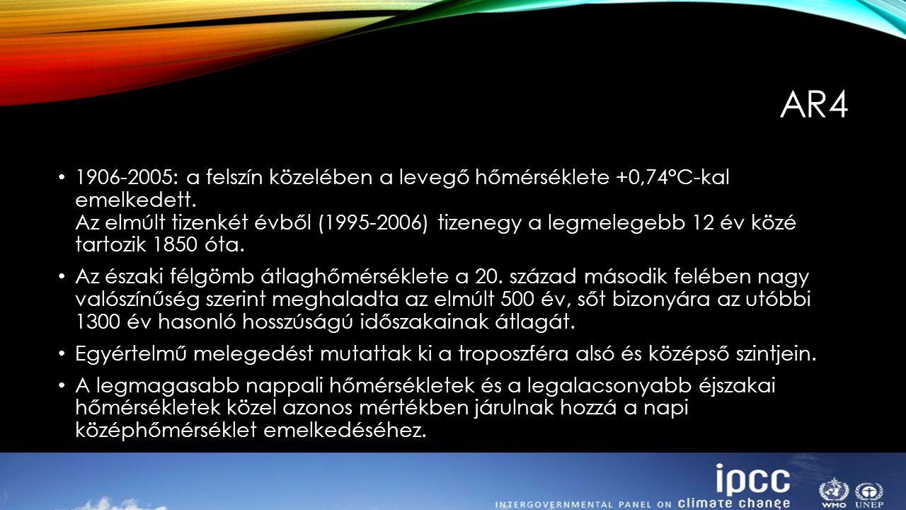 1906-2005: a felszín közelében a levegő hőmérséklete +0,74°C-kal emelkedett. Az elmúlt tizenkét évből (1995-2006) tizenegy a legmelegebb 12 év közé ta