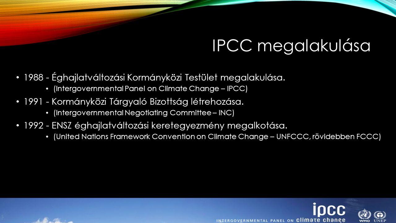 IPCC megalakulása 1988 - Éghajlatváltozási Kormányközi Testület megalakulása. (Intergovernmental Panel on Climate Change – IPCC) 1991 - Kormányközi Tá
