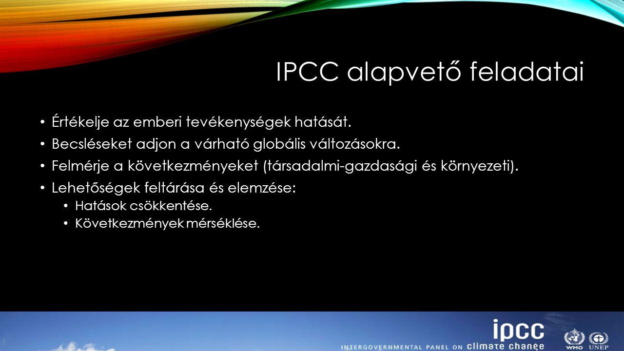 IPCC alapvető feladatai Értékelje az emberi tevékenységek hatását. Becsléseket adjon a várható globális változásokra. Felmérje a következményeket (tár