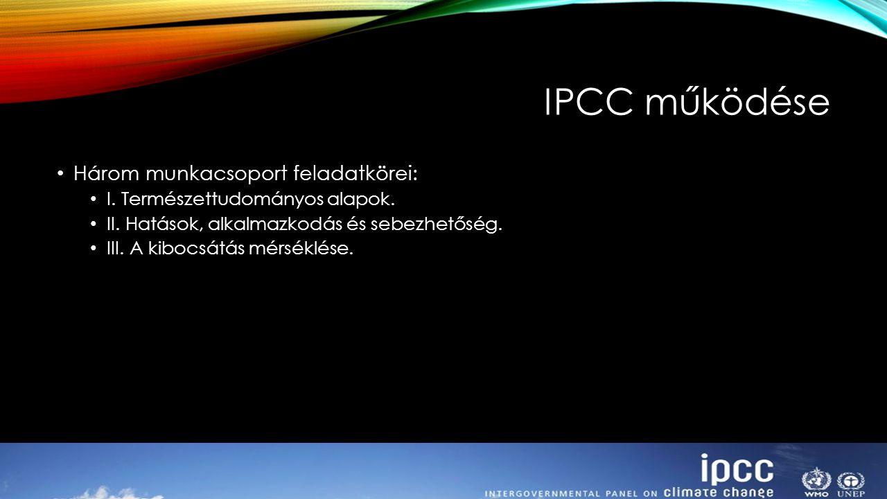 IPCC működése Három munkacsoport feladatkörei: I. Természettudományos alapok. II. Hatások, alkalmazkodás és sebezhetőség. III. A kibocsátás mérséklése