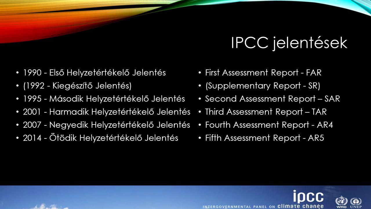 IPCC jelentések 1990 - Első Helyzetértékelő Jelentés (1992 - Kiegészítő Jelentés) 1995 - Második Helyzetértékelő Jelentés 2001 - Harmadik Helyzetérték