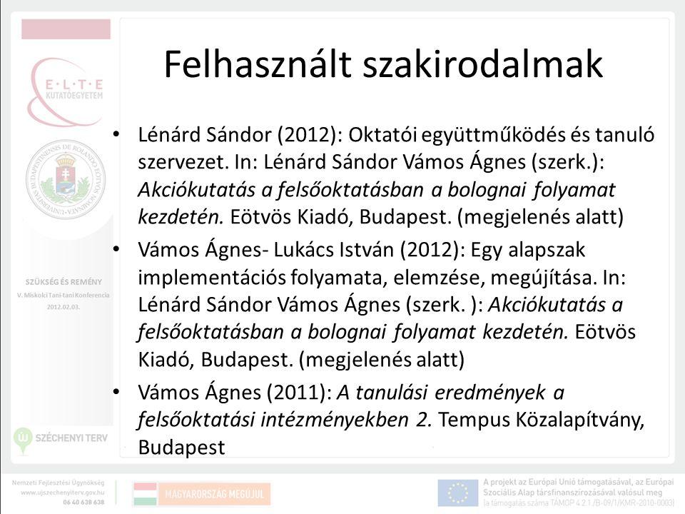 Felhasznált szakirodalmak Lénárd Sándor (2012): Oktatói együttműködés és tanuló szervezet. In: Lénárd Sándor Vámos Ágnes (szerk.): Akciókutatás a fels