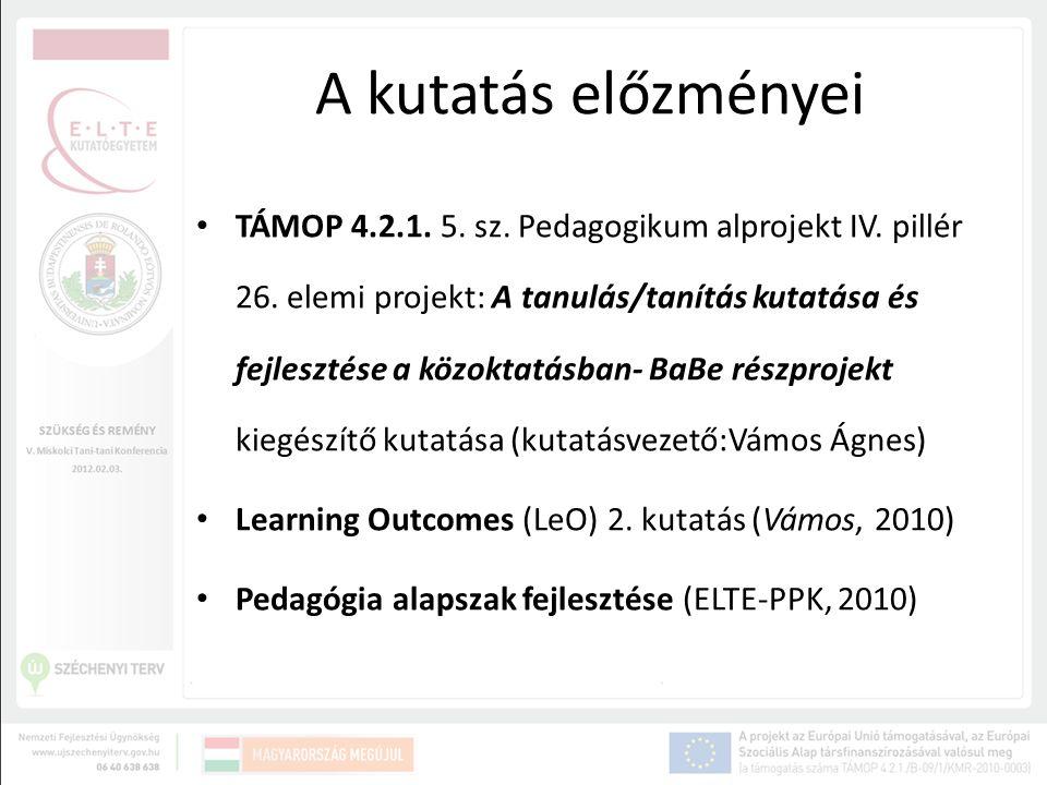 A kutatás előzményei TÁMOP 4.2.1. 5. sz. Pedagogikum alprojekt IV. pillér 26. elemi projekt: A tanulás/tanítás kutatása és fejlesztése a közoktatásban