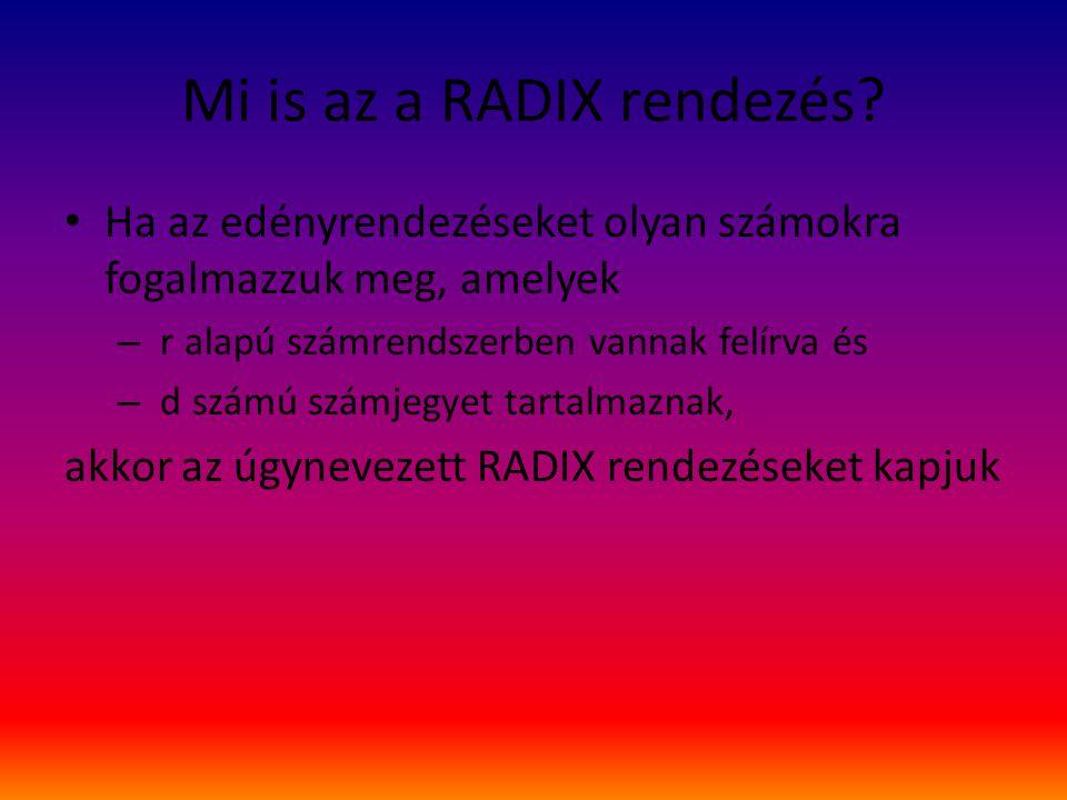 Mi is az a RADIX rendezés? Ha az edényrendezéseket olyan számokra fogalmazzuk meg, amelyek – r alapú számrendszerben vannak felírva és – d számú számj