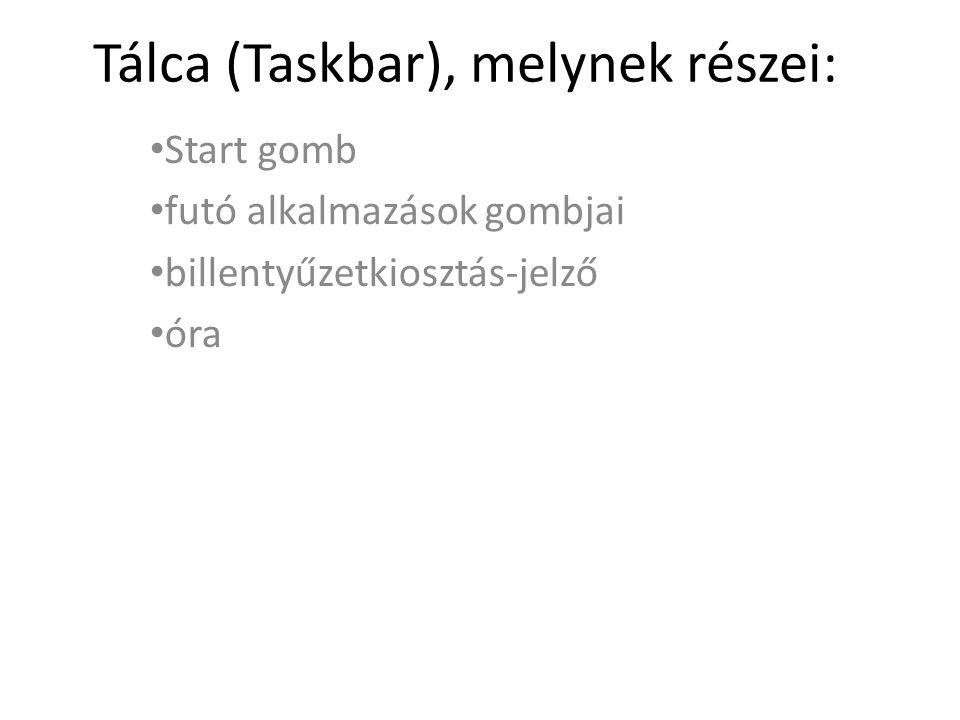 Tálca (Taskbar), melynek részei: Start gomb futó alkalmazások gombjai billentyűzetkiosztás-jelző óra