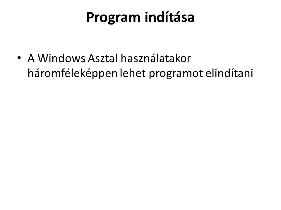 Program indítása A Windows Asztal használatakor háromféleképpen lehet programot elindítani