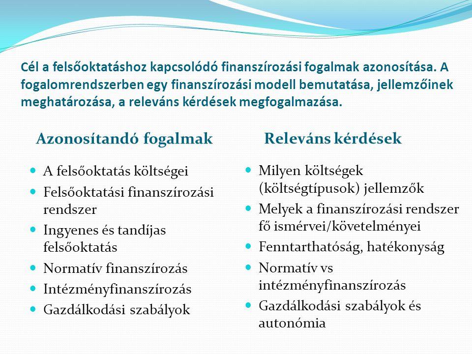 Cél a felsőoktatáshoz kapcsolódó finanszírozási fogalmak azonosítása. A fogalomrendszerben egy finanszírozási modell bemutatása, jellemzőinek meghatár