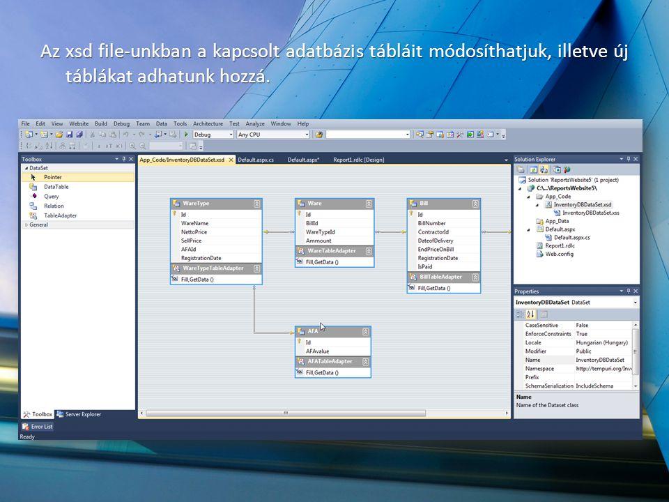 Az xsd file-unkban a kapcsolt adatbázis tábláit módosíthatjuk, illetve új táblákat adhatunk hozzá.