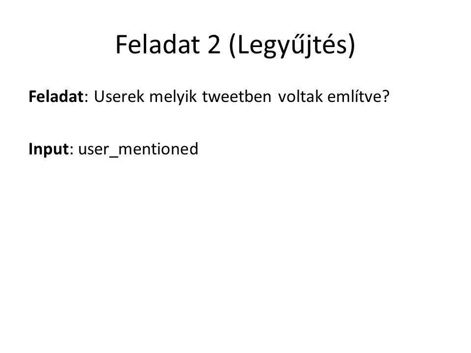 Feladat 2 (Legyűjtés) Feladat: Userek melyik tweetben voltak említve Input: user_mentioned