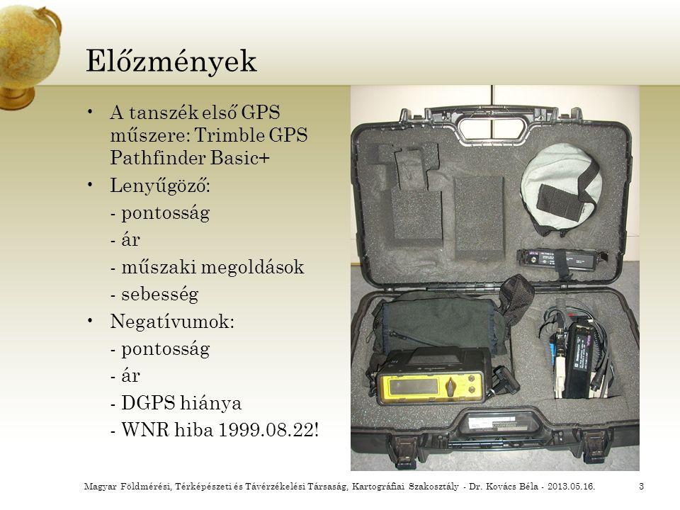 Előzmények A tanszék első GPS műszere: Trimble GPS Pathfinder Basic+ Lenyűgöző: - pontosság - ár - műszaki megoldások - sebesség Negatívumok: - pontos