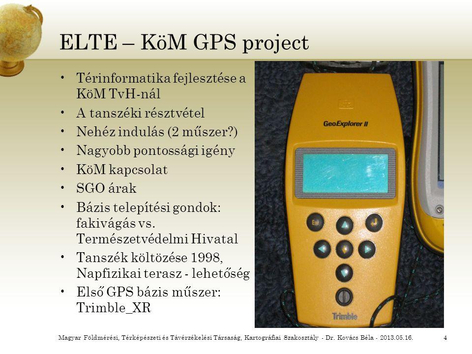 ELTE – KöM GPS project Térinformatika fejlesztése a KöM TvH-nál A tanszéki résztvétel Nehéz indulás (2 műszer?) Nagyobb pontossági igény KöM kapcsolat