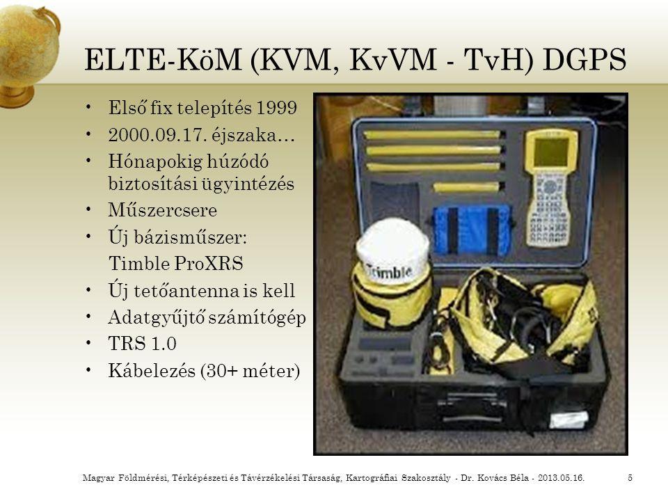 ELTE-KöM (KVM, KvVM - TvH) DGPS Első fix telepítés 1999 2000.09.17. éjszaka… Hónapokig húzódó biztosítási ügyintézés Műszercsere Új bázisműszer: Timbl