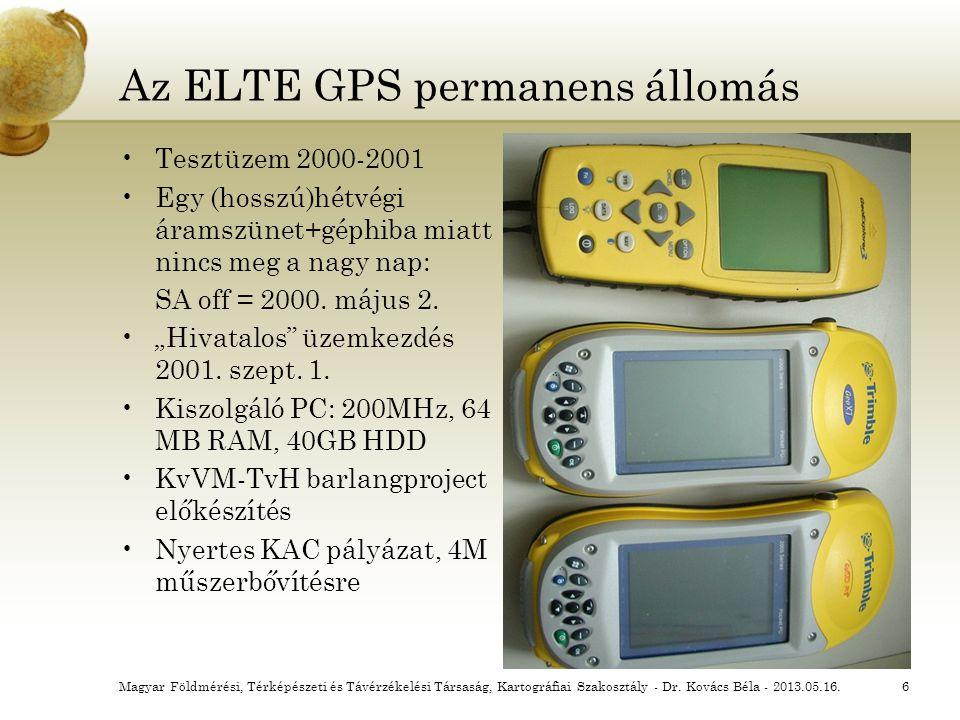 """Az ELTE GPS permanens állomás Tesztüzem 2000-2001 Egy (hosszú)hétvégi áramszünet+géphiba miatt nincs meg a nagy nap: SA off = 2000. május 2. """"Hivatalo"""