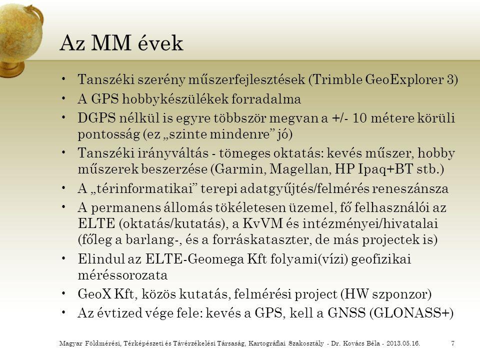 Az MM évek Tanszéki szerény műszerfejlesztések (Trimble GeoExplorer 3) A GPS hobbykészülékek forradalma DGPS nélkül is egyre többször megvan a +/- 10