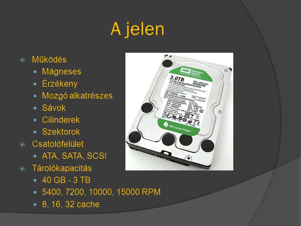 A jelen  Működés Mágneses Érzékeny Mozgó alkatrészes Sávok Cilinderek Szektorok  Csatolófelület ATA, SATA, SCSI  Tárolókapacitás 40 GB - 3 TB 5400,