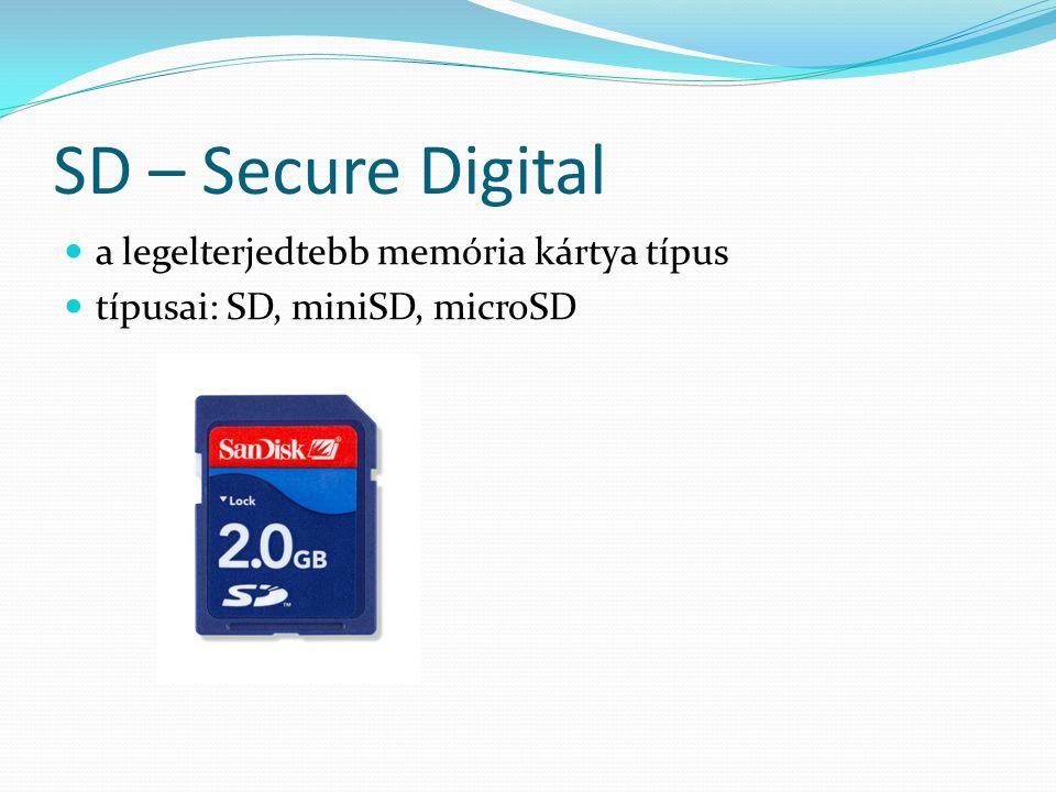 SD – Secure Digital a legelterjedtebb memória kártya típus típusai: SD, miniSD, microSD