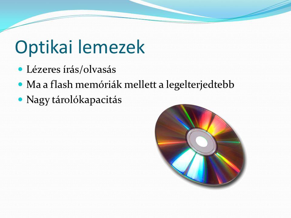Optikai lemezek Lézeres írás/olvasás Ma a flash memóriák mellett a legelterjedtebb Nagy tárolókapacitás