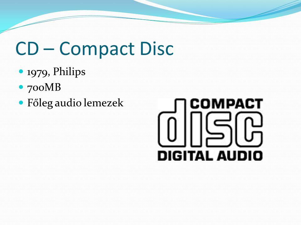 CD – Compact Disc 1979, Philips 700MB Főleg audio lemezek