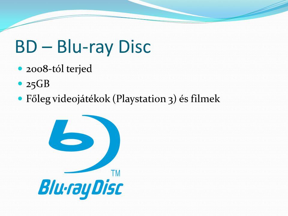 BD – Blu-ray Disc 2008-tól terjed 25GB Főleg videojátékok (Playstation 3) és filmek