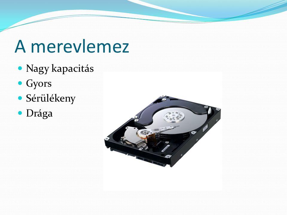 DVD – Digital Versatile Disc 1995-ben jelentették be 4,7GB (dupla rétegű 8,5GB) Főleg filmek tárolására használják Ma a legelterjedtebb