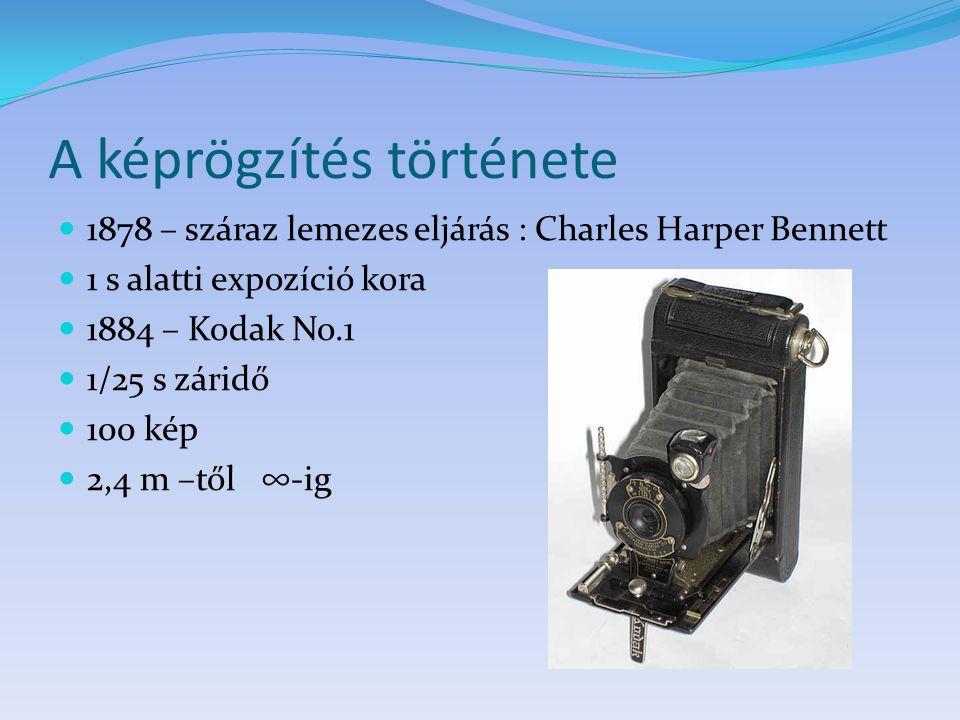 A képrögzítés története 1878 – száraz lemezes eljárás : Charles Harper Bennett 1 s alatti expozíció kora 1884 – Kodak No.1 1/25 s záridő 100 kép 2,4 m
