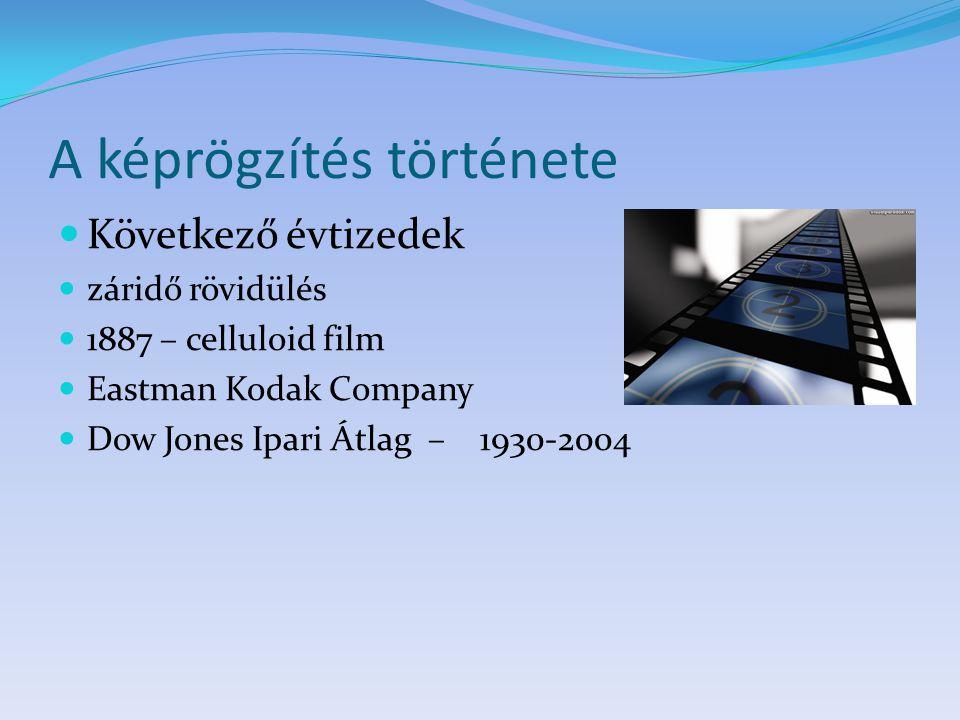 A képrögzítés története Következő évtizedek záridő rövidülés 1887 – celluloid film Eastman Kodak Company Dow Jones Ipari Átlag – 1930-2004