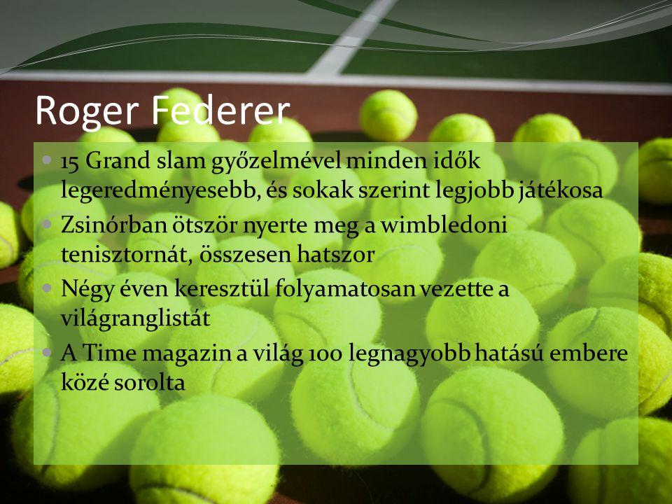 Roger Federer 15 Grand slam győzelmével minden idők legeredményesebb, és sokak szerint legjobb játékosa Zsinórban ötször nyerte meg a wimbledoni tenisztornát, összesen hatszor Négy éven keresztül folyamatosan vezette a világranglistát A Time magazin a világ 100 legnagyobb hatású embere közé sorolta