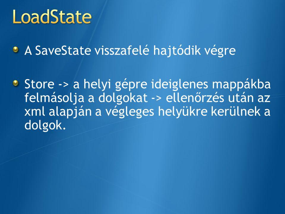 A SaveState visszafelé hajtódik végre Store -> a helyi gépre ideiglenes mappákba felmásolja a dolgokat -> ellenőrzés után az xml alapján a végleges he