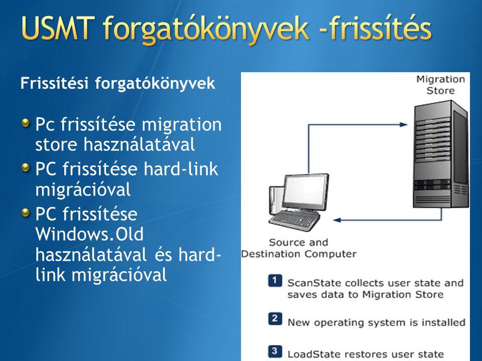 Futtassuk a Scanstatet Vista vagy Win 7 rendszeren Migrációs eljárás Adatok gyűjtése a hard link tárolóba migráció végrehajtása Hard link tároló törlése Streamlines telepítési eljárás Az adatmentés valószínűségének csökkentése elfogadható szintre Windows.old készíése Bitlockerrel titkosított meghajtóra (ha ki van kapcsolva) a bitlocker