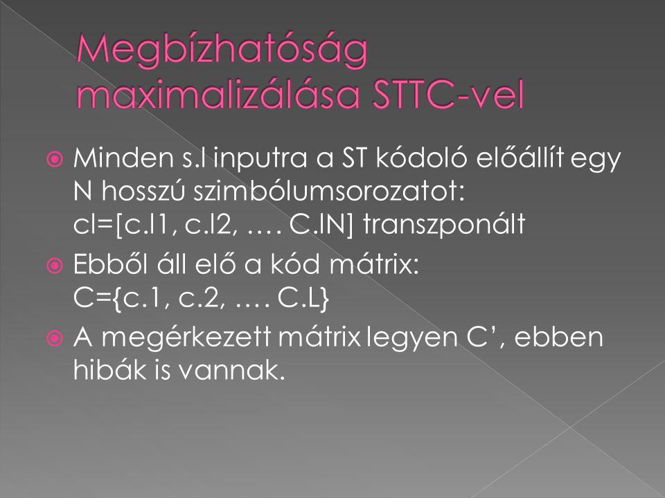 Minden s.l inputra a ST kódoló előállít egy N hosszú szimbólumsorozatot: cl=[c.l1, c.l2, …. C.lN] transzponált  Ebből áll elő a kód mátrix: C={c.1,