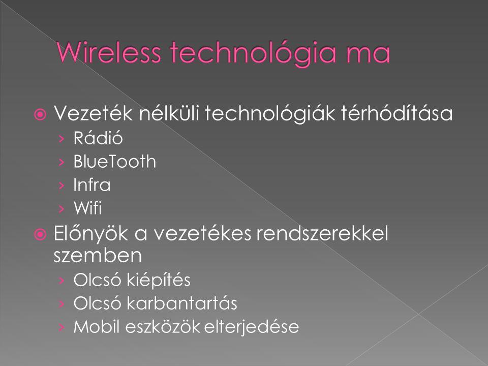  Vezeték nélküli technológiák térhódítása › Rádió › BlueTooth › Infra › Wifi  Előnyök a vezetékes rendszerekkel szemben › Olcsó kiépítés › Olcsó karbantartás › Mobil eszközök elterjedése