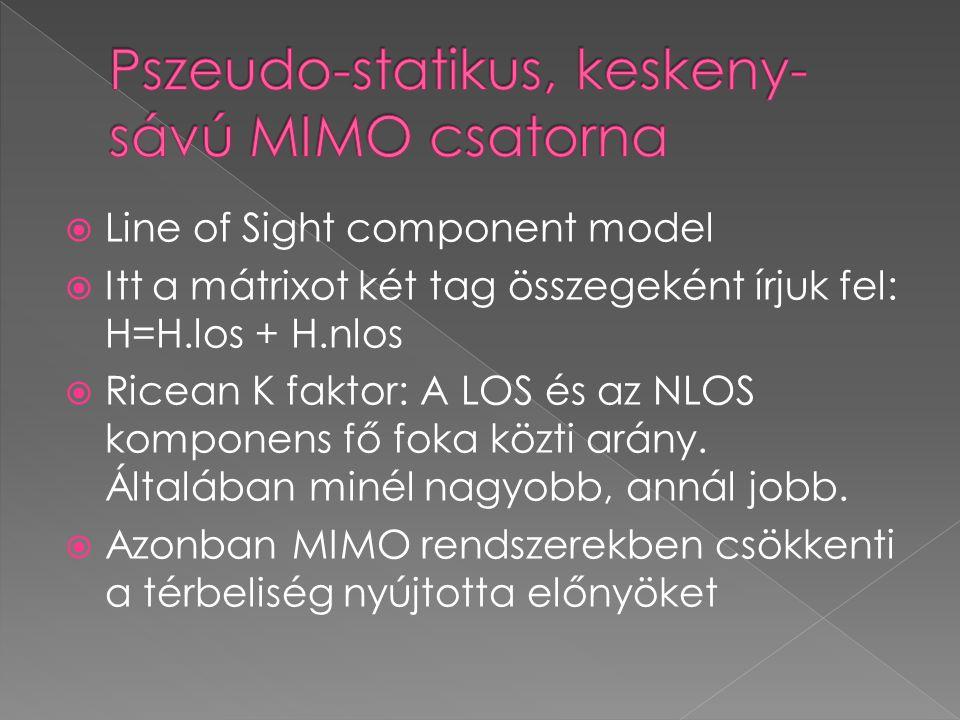  Line of Sight component model  Itt a mátrixot két tag összegeként írjuk fel: H=H.los + H.nlos  Ricean K faktor: A LOS és az NLOS komponens fő foka közti arány.